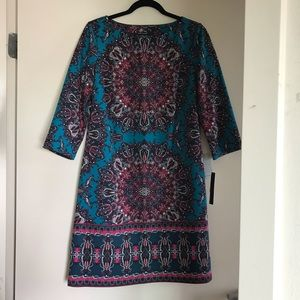 NWT Maggy London | Turquoise Printed Shift Dress
